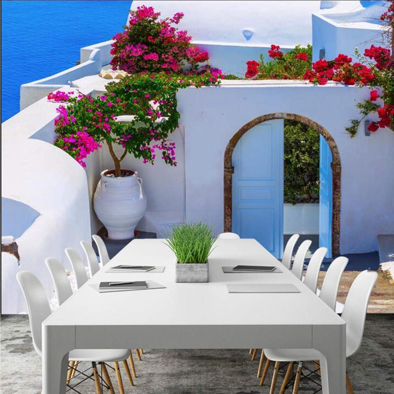 aquí tiene la última Dalxsh Azul Mediterráneo Jardín Villa Villa Villa Mural De La Parojo Habitación Para Nios Solos Decorar Sala De Estar Sofá Tv Dormitorio Telón De Fondo Bar-200X140Cm  apresurado a ver