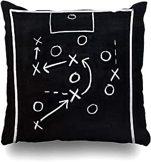 Ahawoso Throw Pillow Cover Square 20x20 Scratch Close Soccer Tactics Drawing On Chalkboard Sportsman Sports Recreation Play Plan Board Blackboard Pillowcase Home Decor Cushion Pillow Case