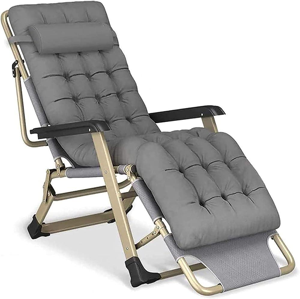 Dfju sedia reclinabile pieghevole zero gravity cuscino in cotone struttura in lega di acciaio 15661