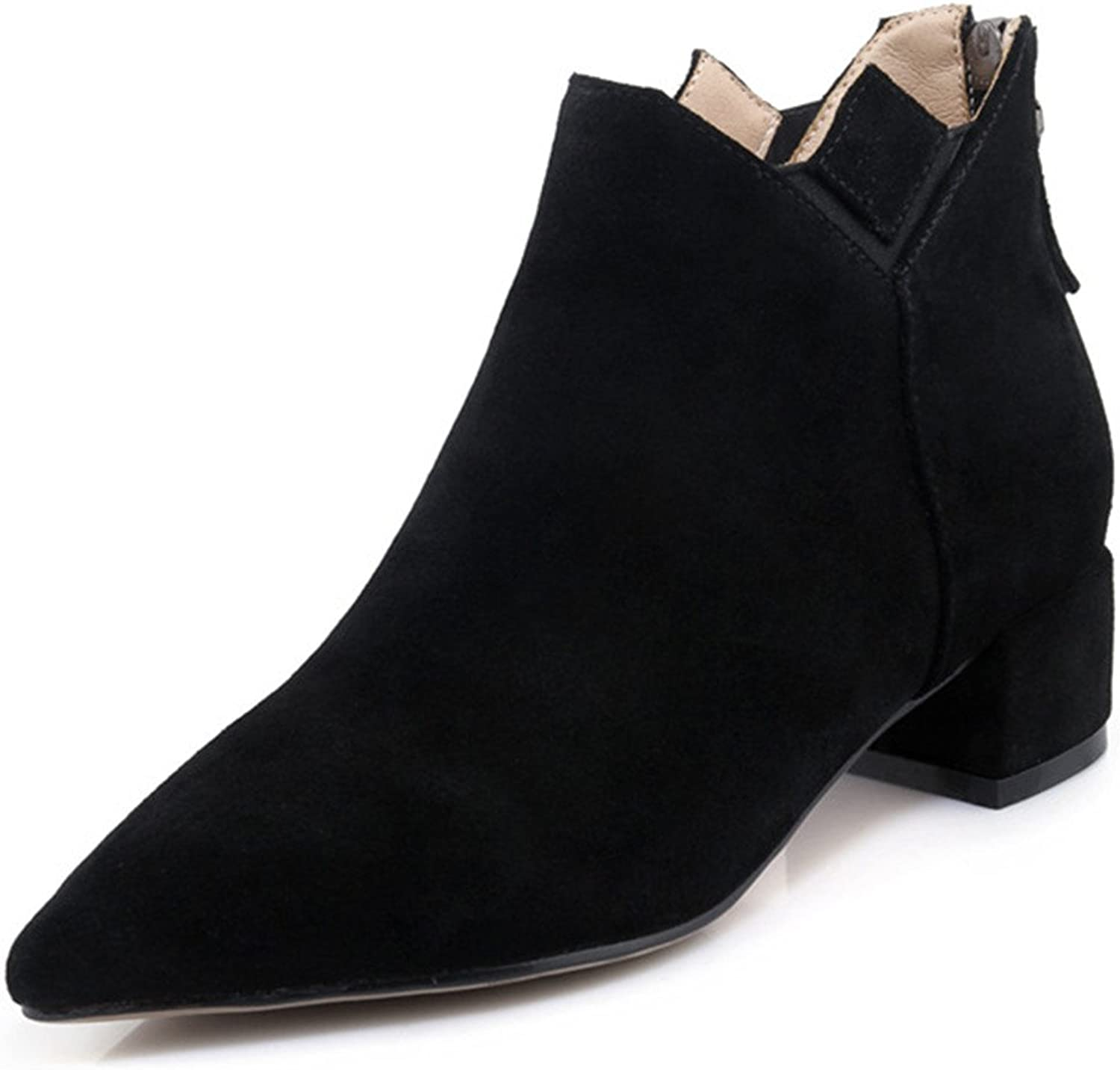 Nine Seven Suede Leather Women's Pointed Toe Chunky Heel Comfort Handmade Dressy Ankle Booties