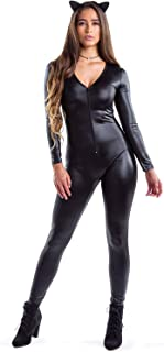 Women's Faux Black Leather Cat Bodysuit w/Front Zipper - Sexy Women's Catsuit Halloween Costume