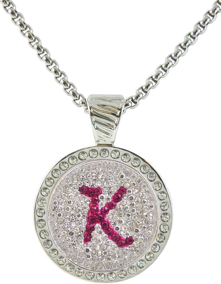 Navika Max 87% OFF K in Pink Initial w Crystal Marker Ball Swarovski Detroit Mall