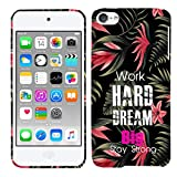 Glisten iPod Touch 7 Case, iPod Touch 6 Case, iPod Touch 5 Case - Work Hard Big Dream Quotes Design Printed Slim Profile Cute Plastic Hard Snap on iPod Touch 7/6 /5 Case (7th, 6th & 5th Gen)