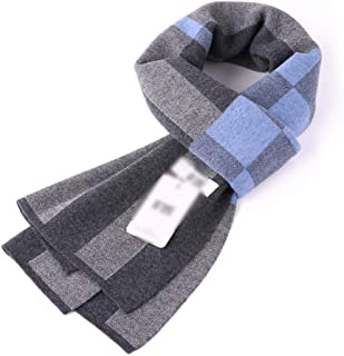 Scarves Scarf Scarves Men's Scarf Autumn and Winter Knit Plaid Scarf Thicken Business Scarf Comfortable Warm Men's Scarf (Color : Blue, Size : 180 * 30cm)