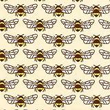 Cremefarbener Baumwollstoff mit Bienen