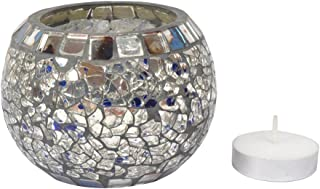 Lalhaveli Indian Handmade Silver Mosaic Glass Candle Holder 3 x 3 Inch