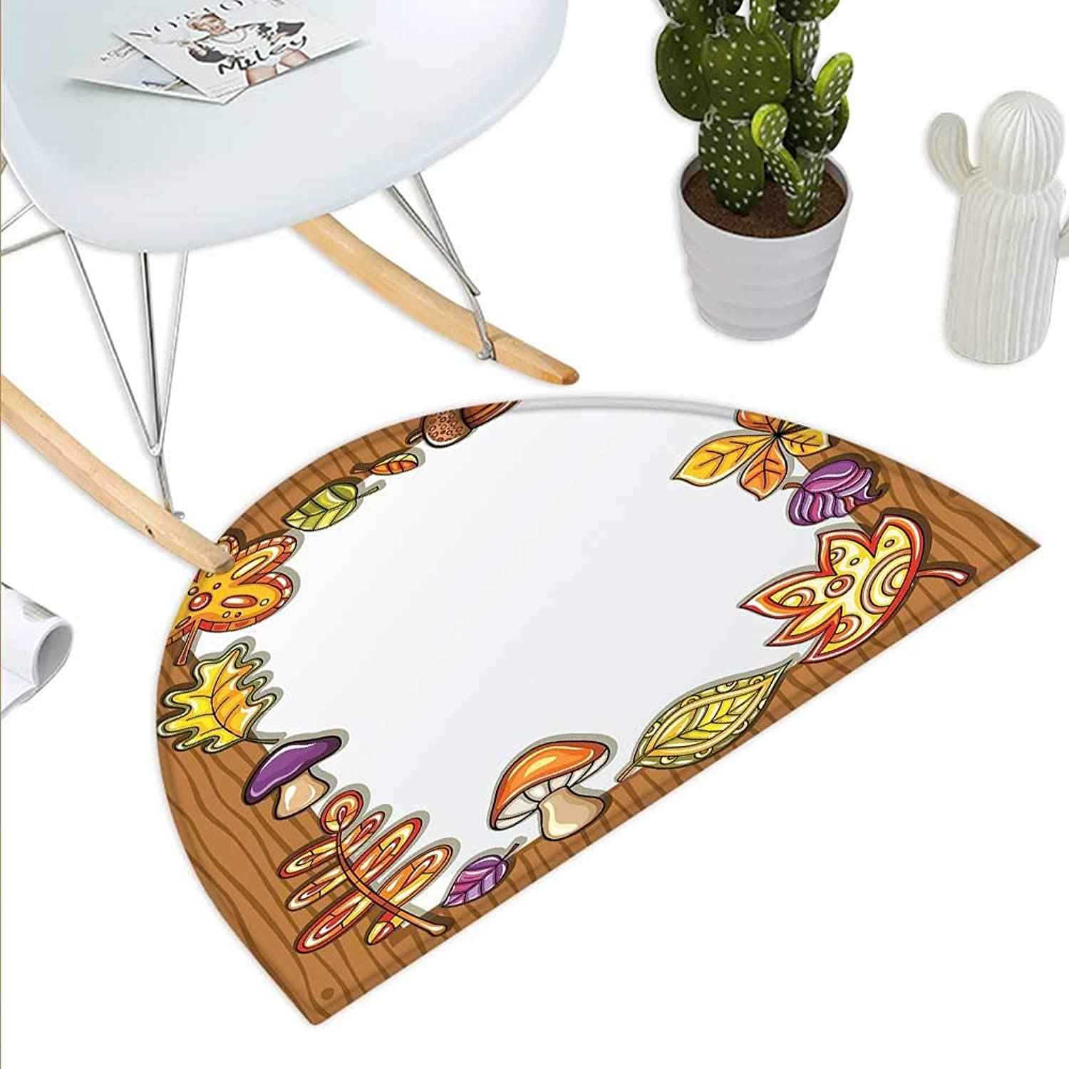Harvest Semicircle Doormat Frame with Autumnal Nature Symbols on Wooden Background Cartoon Style Foliage Halfmoon doormats H 39.3  xD 59  Brown Multicolor