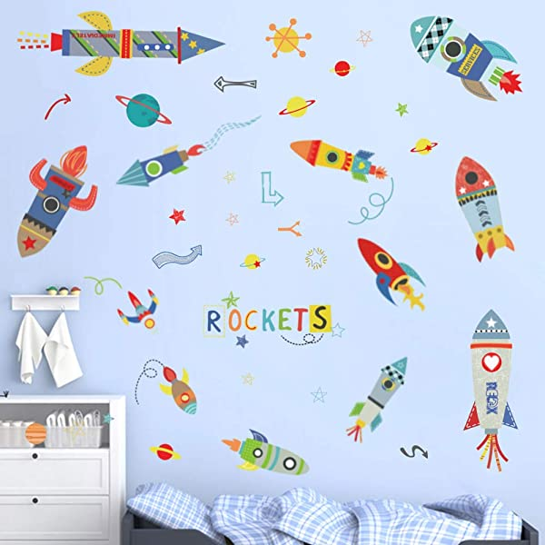 Ufengke Colorful Rockets Wall Stickers Outer Space Planets Wall Art Decals Wall Decor For Boys Bedroom Nursery