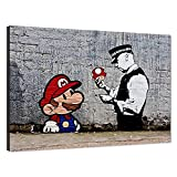 Wall Art Decor Banksy Street Graffiti Super Mario Brothers Mushroom Pictures Pop Art Canvas Painting Prints and Poster Artwork Home Decor for Living Room Framed Ready to Hang- 24' Wx36 H