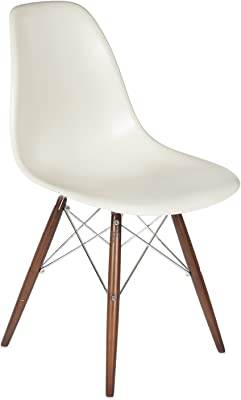 Stilnovo The Mid-Century Eiffel Dining Chair, Almond/Walnut Color Wood Base with Chrome Rods