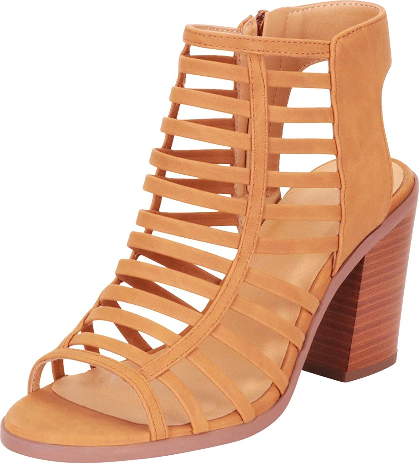 Cambridge Select Women's Open Toe Caged Cutout Strappy Chunky Stacked Block Heel Ankle Bootie