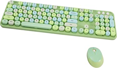 Arcwares Wireless Keyboard and Mouse Combo, 2.4G USB Ergonomic Keyboard, Cute Round Retro Typewriter Keycaps for Computer,...