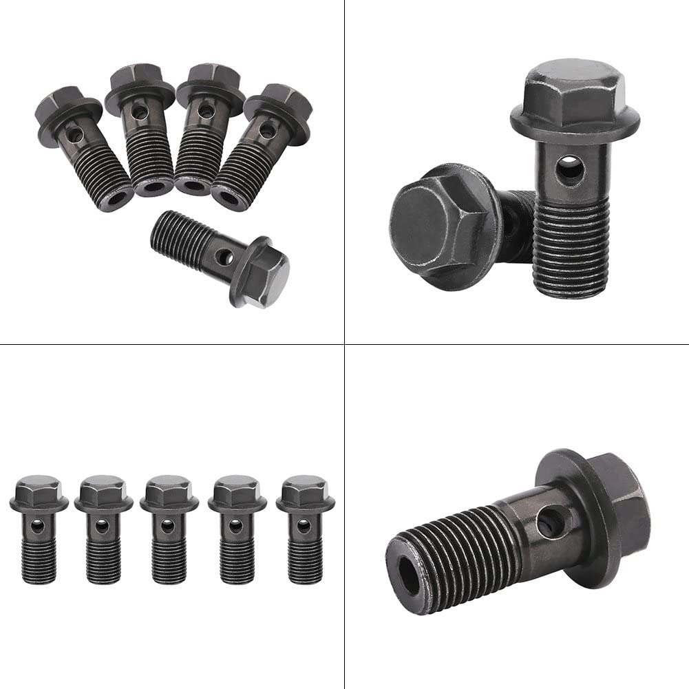 5Pcs Motorcycle Brake Banjo Bolts and Fittings Gasket Sealing Washer Kit for Brake Caliper Master Cylinder Motorcycle Brake Bolts M10/×1mm