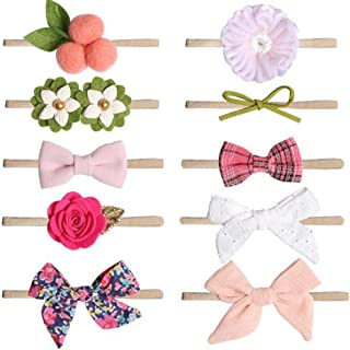 Auch Baby Girl Headbands and Bows Flowers Nylon Hairbands Hair Bow Accessories for Newborn Infant Toddler Girls Gift-10 Pack
