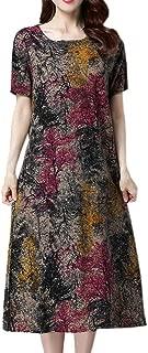 Bohemian Midi Dress for Women Boho Short Sleeve Crewneck Dresses Dressy Vintage