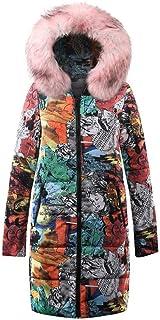 SHANLEE Womens Winter Long Down Jacket Cotton Parkas Long Coat Fur Hooded Outwear