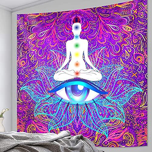 PPOU India Buda Rueda meditación Tapiz Estera de Yoga Hippie Colgante de Pared Estilo Bohemio Manta Decorativa Tela Colgante A1 130x150cm