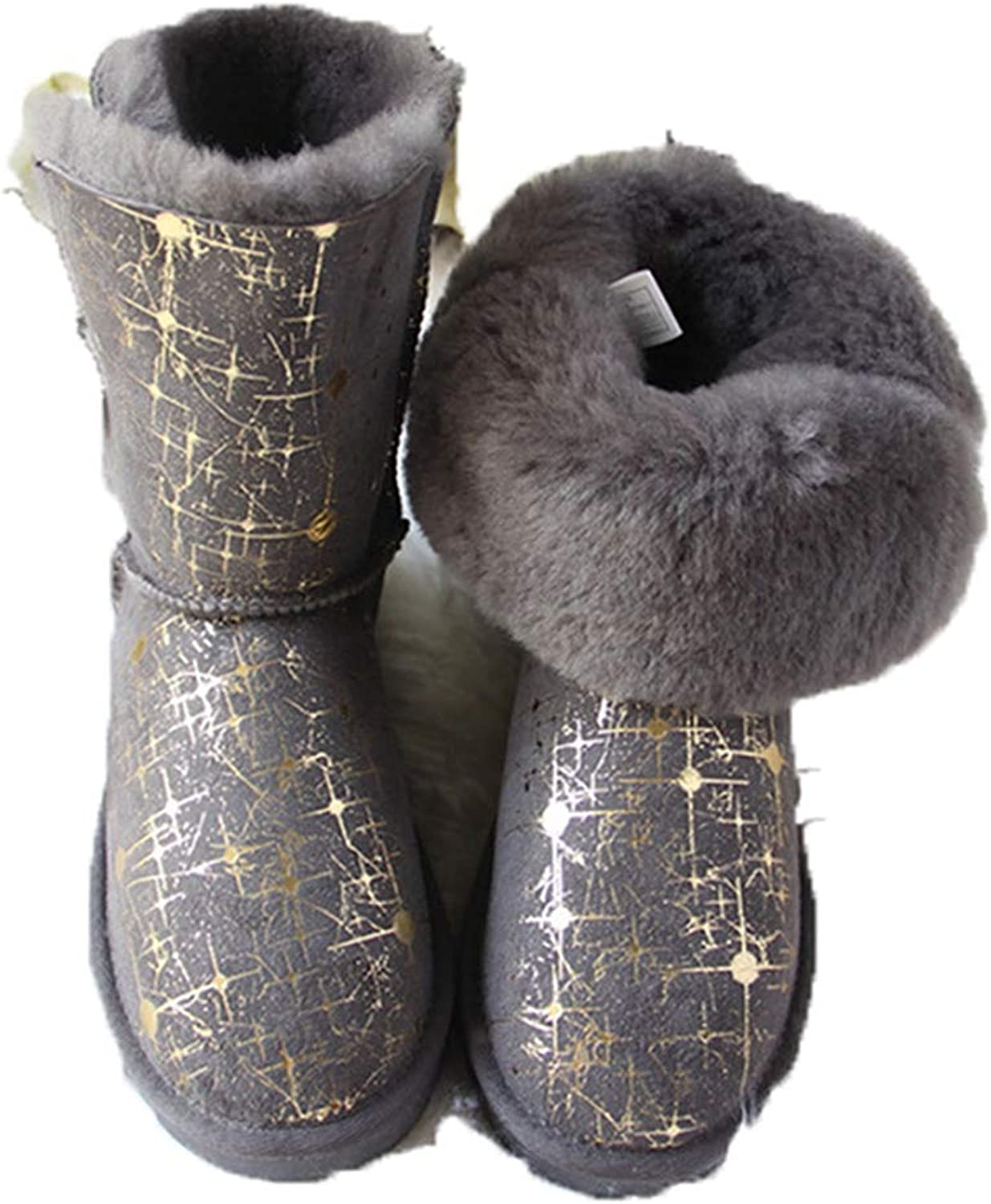 Fay Waters Women's Warm Winter Fashion Genuine Sheepskin Leather Ice Maiden Insulated Snow Boot