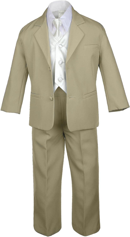 A surprise price is Detroit Mall realized Unotux 7pc Boys Khaki Suit with Ivory Set Vest Satin fro Necktie