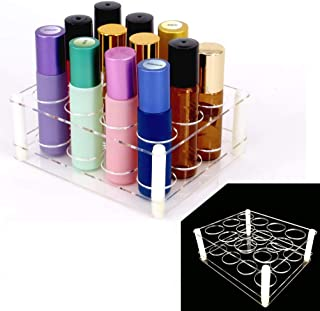 12Slots Roller Bottles Holder, Perfect Vertically Hold For Essential Oils Rollers, Great Oils Display Holder Roller Bottles Storage Shelf Organizer,Hole Diameter 2.3cm/0.9inch,Acrylic,DIY