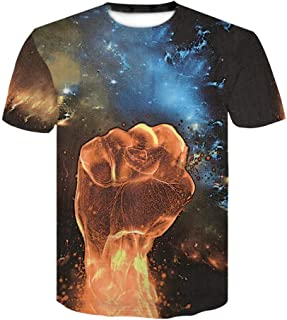 Fashion Men's T-Shirt Creative 3D Printing Round Neck Casual Short Summer Hawaiian Shirt Top Blouse