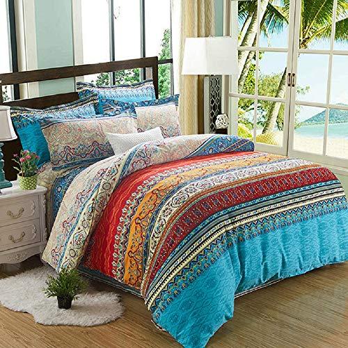 Alicemall 4 Teilig Idyllisch Bettwäsche Set Bettbezug 240 cm x 220 cm 100% Baumwolle mit Reißverschluss exotisch Vintage Stil 1 Bettlaken 2 Kissenbezüge