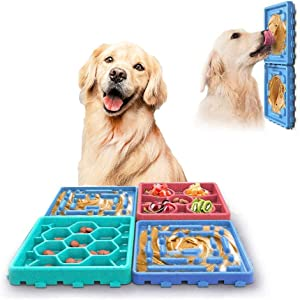 PiPiBird 4 Pcs Dog Lick Pad Pet Slow Feeder Mat Set, Dog Slow Feed Tray,Food Dispensing Puppy Mat Non Slip Puzzle Bowl Durable Preventing Choking Healthy Design Bowl for Small Medium Dogs Cats