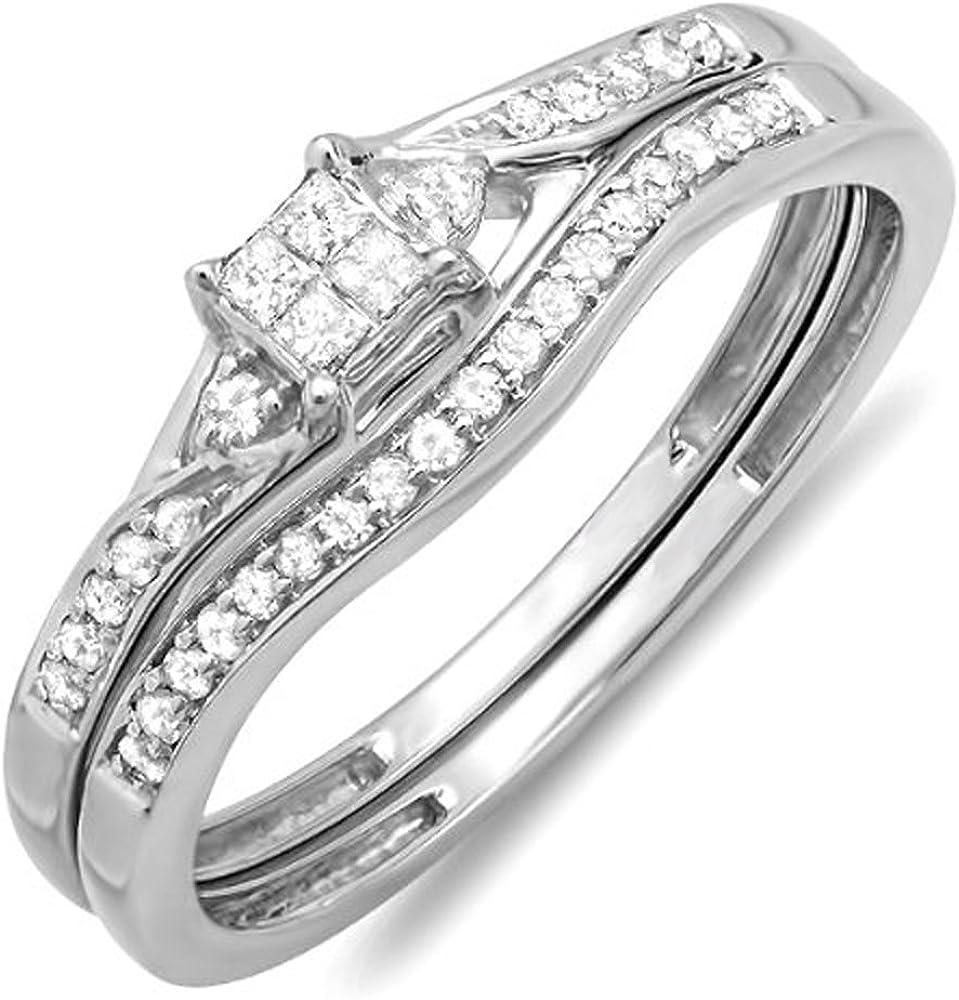 Dazzlingrock Collection 0.25 Carat (ctw) 10k Princess & Round Diamond Ladies Bridal Promise Wedding Ring Set 1/4 CT, White Gold