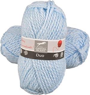 Laines Cheval Blanc - DUO fil à tricoter 100% acrylique 50g - Gros fil hiver pour tricot et crochet