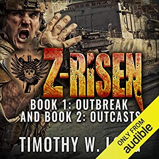 Z-Risen 1: Outbreak and Z-Risen 2: Outcasts audiobook cover art