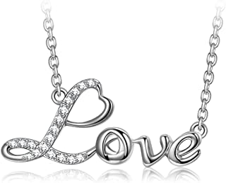 QIANSE ❤Love/Amour❤ 925 Sterling Silver Pendnat Necklace,...