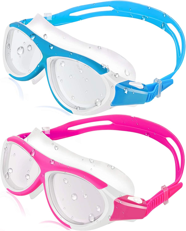 HeySplash 水泳ゴーグル [2パック] 漏れない 曇り止め UV保護 ソフトシリコンフレーム 目に優しいスイミングゴーグルレンズ 快適なガスケット水泳メガネ 子供用 ピンク+スカイブルー