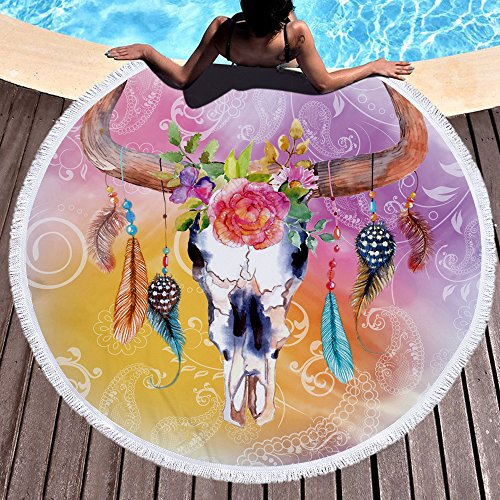 Lovedrop Hippie Cerf Fleurs Serviette de plage Grand Rond en microfibre Serviette de plage/serviette de plage couverture de pique-nique Tenture Tapis de yoga 150 cm 1