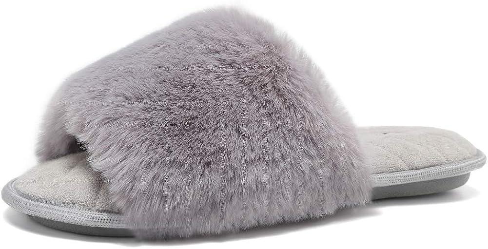 FANTURE Women's Furry Faux Fur Slippers Cozy Memory Foam House Slippers Soft Comfy Flat Slide Sandals Indoor Outdoor