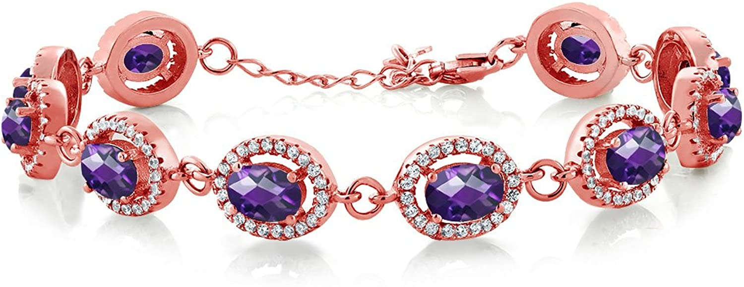 10.38 Ct Oval Checkerboard Purple Amethyst 18K pink gold Plated Silver Bracelet