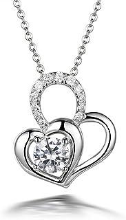 CS-DB Pendants Heart Flower Design Silver Necklaces
