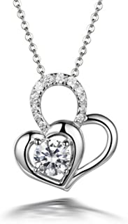 CS-DB AAA CZ Clear Rhinestone Double Love Heart Pendants Silver Necklaces