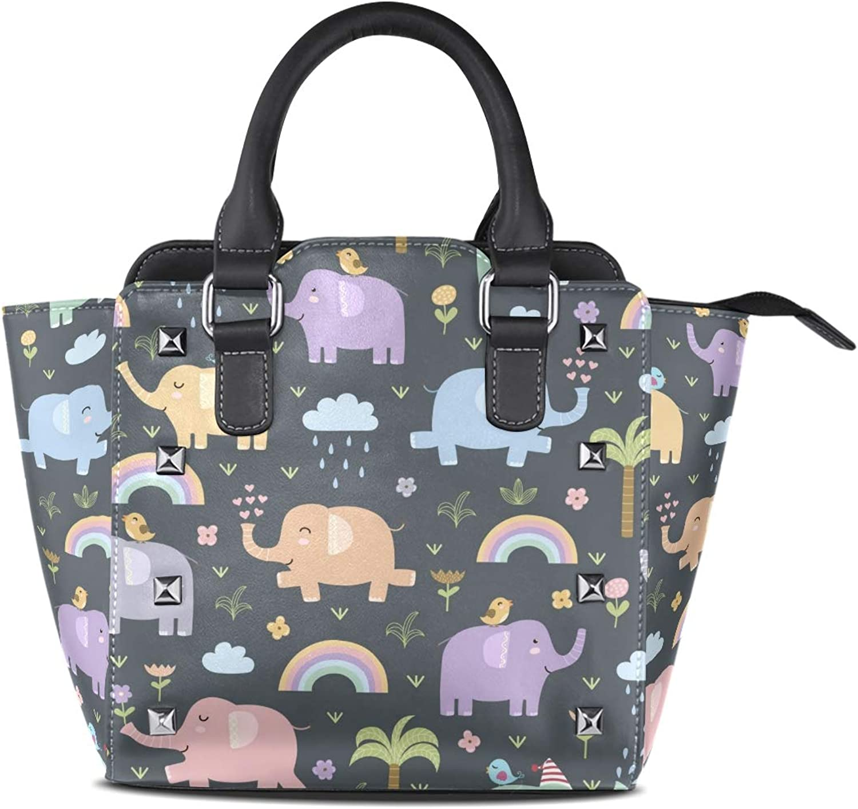 My Little Nest Women's Top Handle Satchel Handbag Elephants Ladies PU Leather Shoulder Bag Crossbody Bag