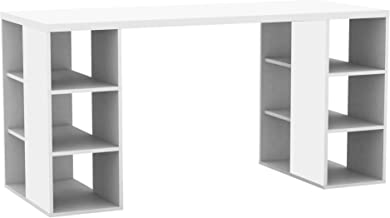 Bloc Office Home Computer Laptop Writing Study Student Everyday Desk with Storage Shelves - White