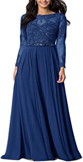 Women Embroidered Chiffon Prom Wedding Party Cleb Cocktail Formal Gowns Long Dress Size S-3XL