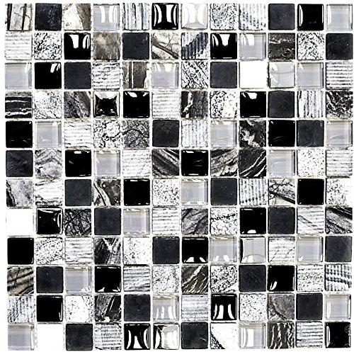 Mosaik Fliese Transluzent grau schwarz Glasmosaik Crystal Stein EP grau schwarz silber für WAND KÜCHE FLIESENSPIEGEL THEKENVERKLEIDUNG Mosaikmatte Mosaikplatte