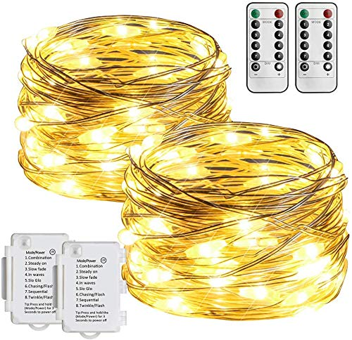 [2 Pack] STARKER Battery Operated Fairy Lights,50 LEDs Fairy Lights Battery Powered with Remote and Timer, 8 Modes Warm White String Lights for Bedroom Party Decoration(Dimmable, Dimmable)