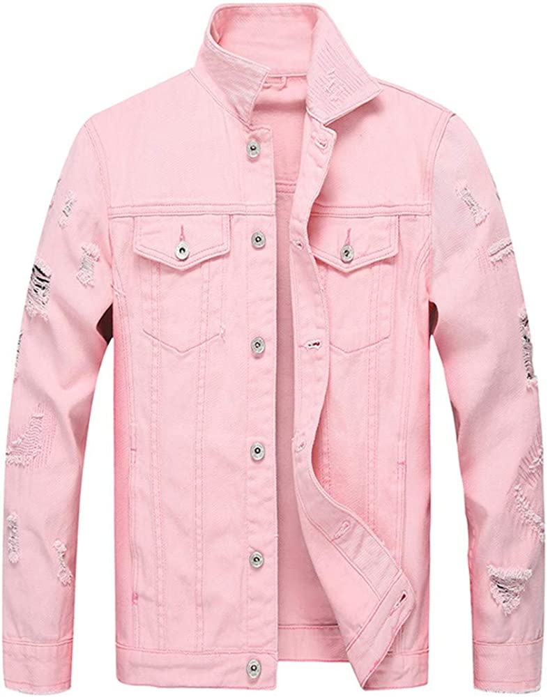 Allywit Mens' Button Solid Color Vintage Denim Jacket Tops Blouse Coat Plus Size