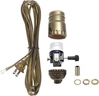 B&P Lamp Antique Brass Socket with Matching Cord Set and Basic Hardware to Make A Lamp or Repair a Fixture