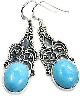 Sterling Silver Rare Genuine Dominican Larimar Dangle Earrings