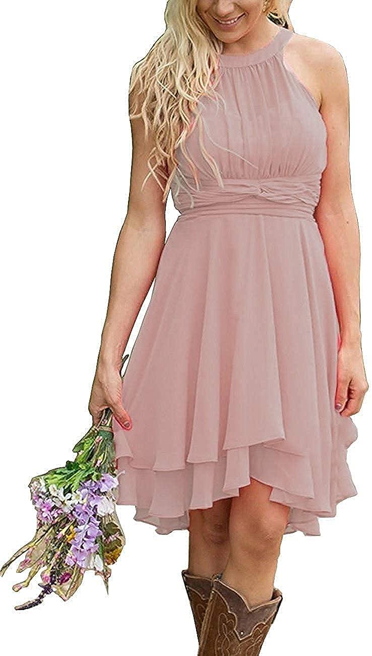 Cheap bargain Cheap sale Women's Halter High Low Bridesmaid Chiffon Dresses Country Short