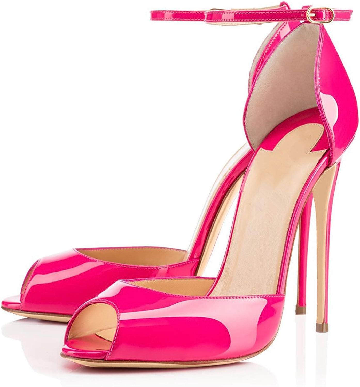 Joogo Women D'Orsay Ankle StrapHigh Heels Pointed Toe Slip On Stiletto Sandals Dress Pumps