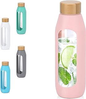Kodrine 20oz Glass Bottles with Sleeve Silicone Sleeve,Bamboo Lid Leak Proof Durable Glass Water Tumbler, Eco Friendly & B...
