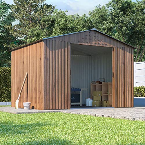 BillyOh Partner Woodgrain Apex Roof Metal Shed, Heavy Duty Galvanised Steel Shed, Foundation Kit (8x6)