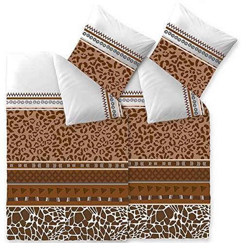 aqua-textil Trend Bettwäsche 135x200 cm 4tlg. Baumwolle Bettbezug Ebony Afrika Leopard Weiß Braun Beige